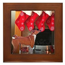 Basenji Christmas Stocking Framed Tile