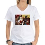 Santa's Border Collie Women's V-Neck T-Shirt