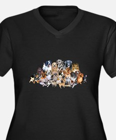 Dog Pile Women's Plus Size V-Neck Dark T-Shirt