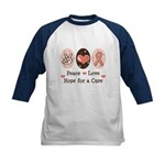 Peace Love Hope For A Cure Kids Baseball Jersey
