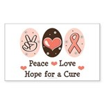 Peace Love Hope For A Cure Rectangle Sticker