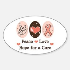 Peace Love Hope For A Cure Oval Decal