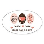Peace Love Hope For A Cure Oval Sticker