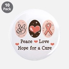 """Peace Love Hope For A Cure 3.5"""" Button (10 pack)"""