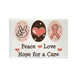 Peace Love Hope For A Cure Rectangle Magnet (100 p