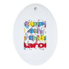 Aaron's 4th Birthday Oval Ornament