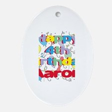 Aaron's 4th Birthday Oval Ornament