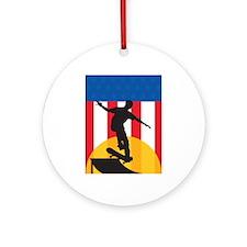 American Skateboard Ornament (Round)