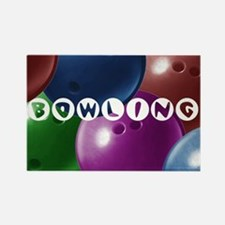 Bowling Collage Rectangle Magnet