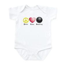 Peace, Love, Bowling Infant Bodysuit