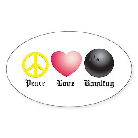 Peace, Love, Bowling Oval Sticker