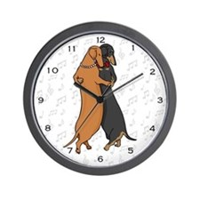 Dancing Dachshunds Wall Clock