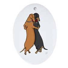 Dancing Dachshunds Oval Ornament