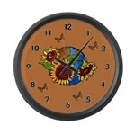 Sunflower Planet Large Wall Clock