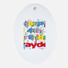 Brayden's 4th Birthday Oval Ornament