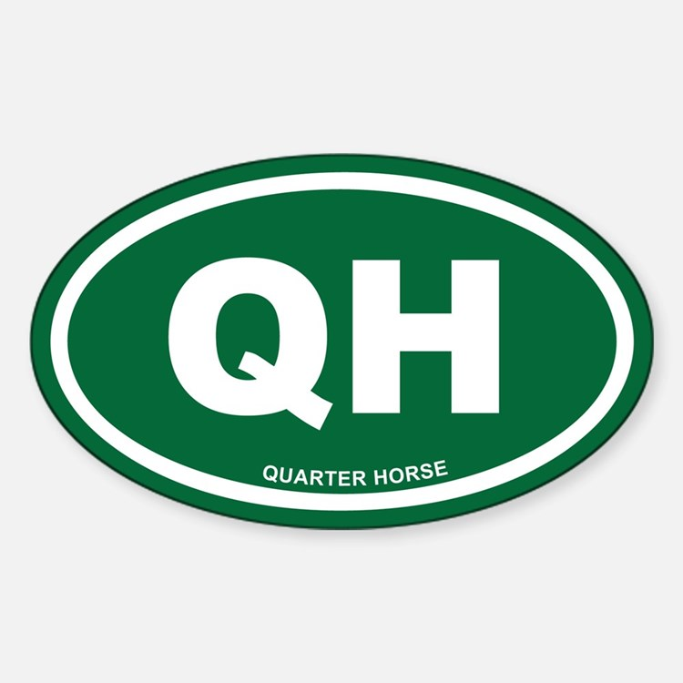 Quarter Horse Green Euro Oval Decal