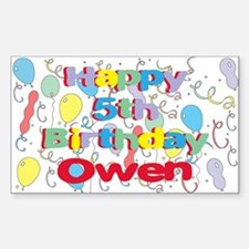 Owen's 5th Birthday Rectangle Decal
