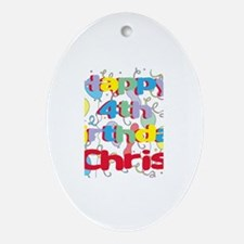 Chris's 4th Birthday Oval Ornament