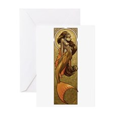 Bronze Mermaid Nouveau Greeting Card