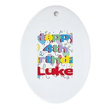 Luke's 4th Birthday Oval Ornament