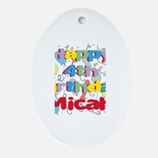 Micah's 4th Birthday Oval Ornament
