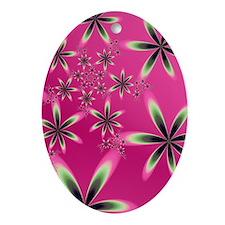 """Flowers On Pink"" Fractal Art Ornament ("
