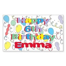 Emma's 6th Birthday Rectangle Decal
