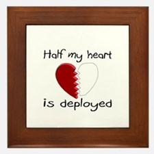 Half My Heart Is Deployed Framed Tile