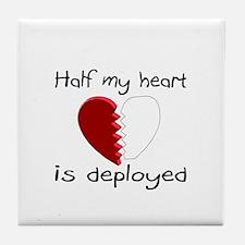 Half My Heart Is Deployed Tile Coaster