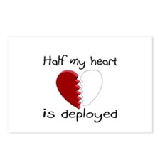 Half My Heart Is Deployed Postcards (Package of 8)