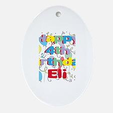 Eli's 4th Birthday Oval Ornament
