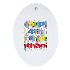 Nathaniel's 4th Birthday Oval Ornament
