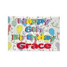 Grace's 6th Birthday Rectangle Magnet