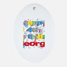 George's 4th Birthday Oval Ornament