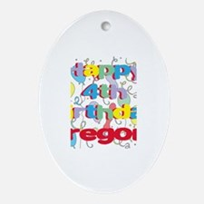 Gregory's 4th Birthday Oval Ornament