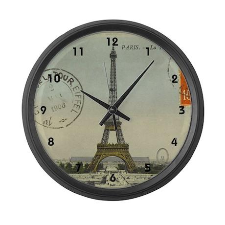 Vintage Eiffel Tower Large Wall Clock