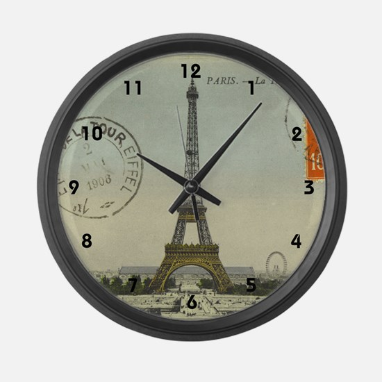 Vintage Eiffel Tower Large Wall Clock