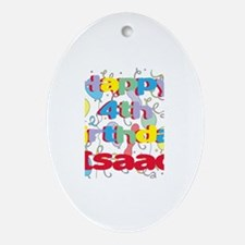 Isaac's 4th Birthday Oval Ornament