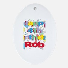 Rob's 4th Birthday Oval Ornament