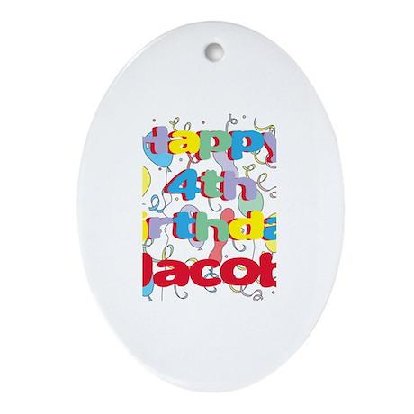 Jacob's 4th Birthday Oval Ornament