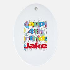 Jake's 4th Birthday Oval Ornament