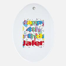 Jalen's 4th Birthday Oval Ornament