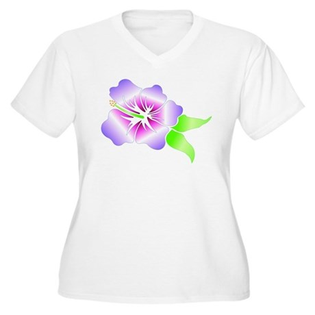 Plus Size V-Neck 2-Sided T-Shirt HIBISCUS FLOWERS