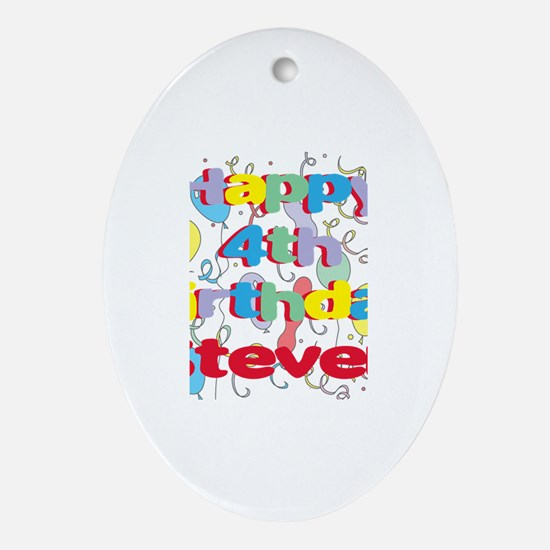 Steven's 4th Birthday Oval Ornament