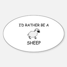 I'd Rather Be A Sheep Oval Decal