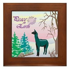 Peace On Earth Black Alpaca Framed Tile