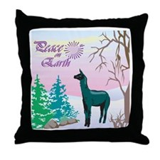 Peace On Earth Black Alpaca Throw Pillow