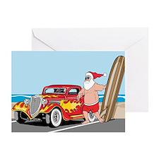 Santa's Hot Rod Vacation Greeting Card