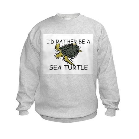 I'd Rather Be A Sea Turtle Kids Sweatshirt