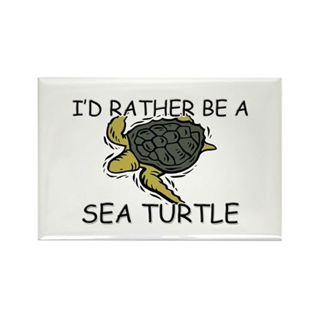 I'd Rather Be A Sea Turtle Rectangle Magnet (10 pa
